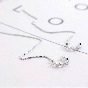 Cute Sterling Silver Wave Cuff Earrings (Silver)